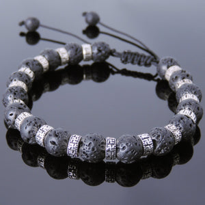 8mm Lava Rock Adjustable Braided Stone Bracelet with S925 Sterling Silver Buddhist Protection Spacer Beads - Handmade by Gem & Silver BR860