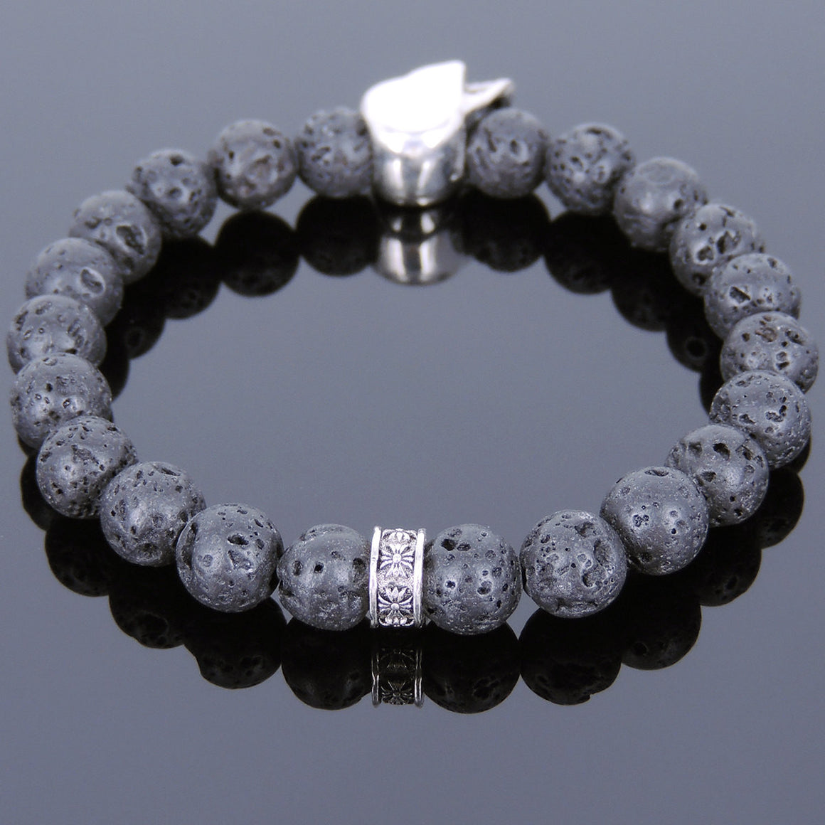 Lava Rock Healing Stone Bracelet with S925 Sterling Silver Skull Bead & Cross Spacer - Handmade by Gem & Silver BR728