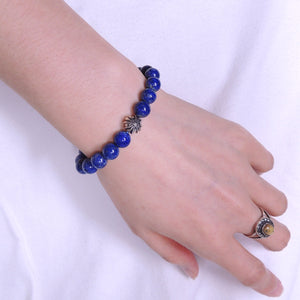 Lapis Lazuli Adjustable Braided Bracelet with S925 Sterling Silver Round Celtic Cross Bead - Handmade by Gem & Silver BR862