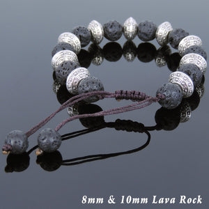 Lava Rock Adjustable Braided Stone Bracelet with Tibetan Silver Protection Spacer Beads - Handmade by Gem & Silver TSB242