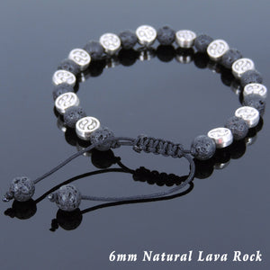 6mm Lava Rock Adjustable Braided Stone Bracelet with Tibetan Silver Taiji Ying Yang Beads - Handmade by Gem & Silver TSB246