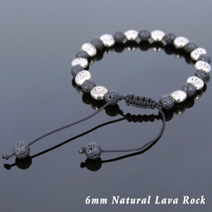 6mm Lava Rock Adjustable Braided Stone Bracelet with Tibetan Silver Engraved Lotus Beads - Handmade by Gem & Silver TSB248
