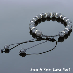 Lava Rock Adjustable Braided Stone Bracelet with Tibetan Silver Disk Spacers - Handmade by Gem & Silver TSB249