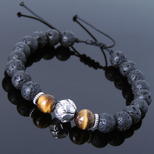 Brown Tiger Eye & Lava Rock Adjustable Braided Gemstone Bracelet with Tibetan Silver Lotus Bead - Handmade by Gem & Silver TSB256
