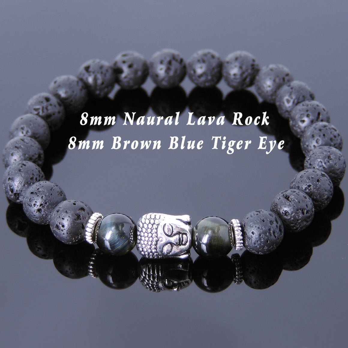 Brown Blue Tiger Eye & Lava Rock Healing Gemstone Bracelet with Tibetan Silver Sakyamuni Buddha & Spacers - Handmade by Gem & Silver TSB155
