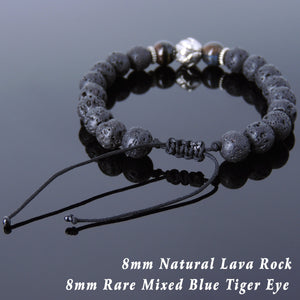 8mm Blue Tiger Eye & Lava Rock Adjustable Braided Stone Bracelet with Tibetan Silver Lotus Bead - Handmade by Gem & Silver TSB261