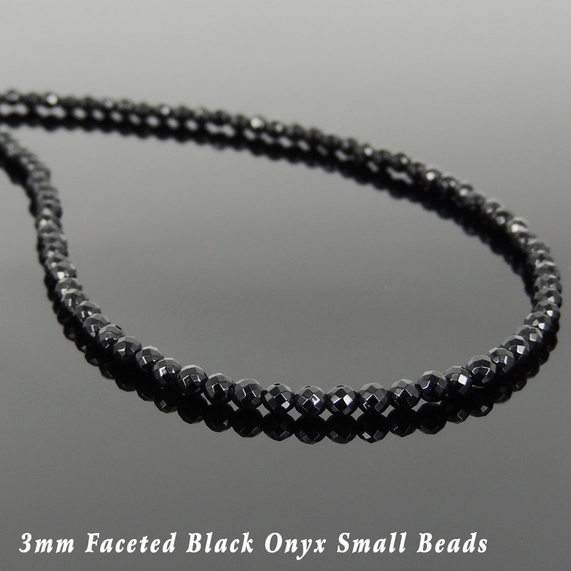 3mm Faceted Bright Black Onyx Healing Gemstone Necklace with S925 Sterling Silver Spacer Beads & Clasp - Handmade by Gem & Silver NK136
