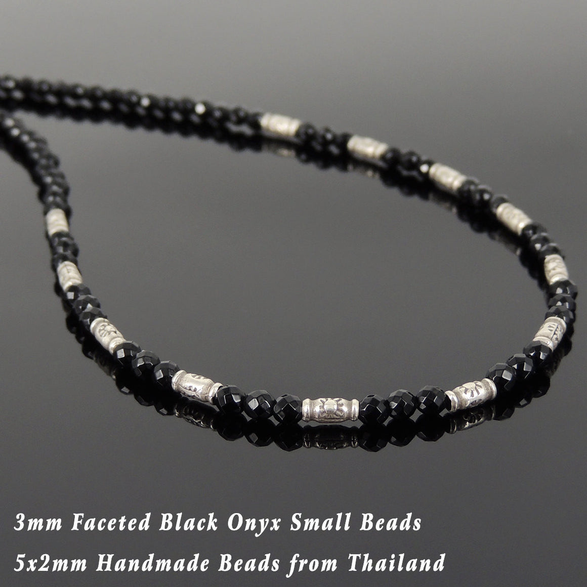 3mm Faceted Black Onyx Healing Gemstone Necklace with S925 Sterling Silver Vintage Sun Barrel Beads & Clasp - Handmade by Gem & Silver NK137