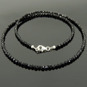 3mm Faceted Black Onyx Healing Gemstone Bracelet & Necklace Set with S925 Sterling Silver Spacer Beads & Clasp NK136_BR871