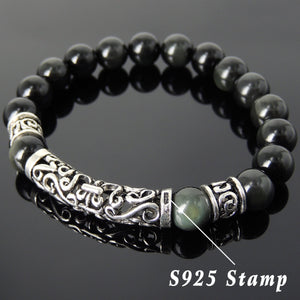 Rainbow Black Obsidian Healing Gemstone Bracelet with S925 Sterling Silver Fleur de Lis Charm & Spacers - Handmade by Gem & Silver BR107