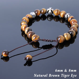 Brown Tiger Eye Adjustable Braided Gemstone Bracelet with S925 Sterling Silver Holy Trinity Cross Beads - Handmade by Gem & Silver BR838