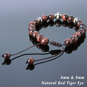 Red Tiger Eye Adjustable Braided Gemstone Bracelet with S925 Sterling Silver Holy Trinity Cross Beads - Handmade by Gem & Silver BR839