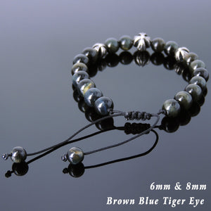 Brown Blue Tiger Eye Adjustable Braided Gemstone Bracelet with S925 Sterling Silver Holy Trinity Cross Beads - Handmade by Gem & Silver BR841