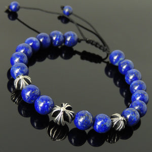 Lapis Lazuli Adjustable Braided Bracelet with S925 Sterling Silver Holy Trinity Cross Beads - Handmade by Gem & Silver BR849