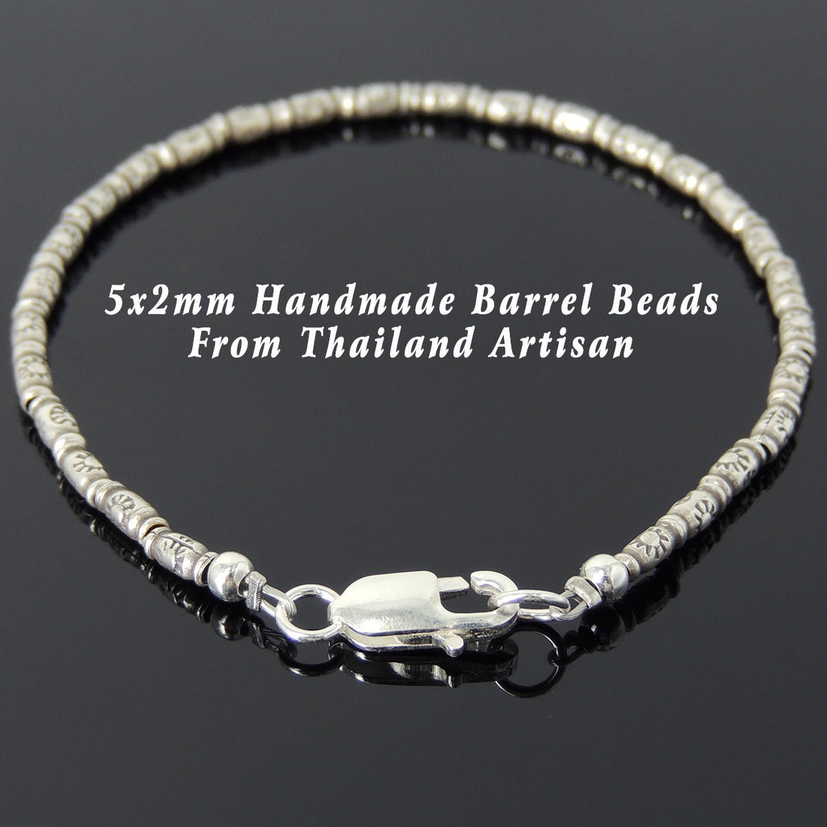 S925 Sterling Silver Handmade Vintage Sun Barrel Beads & Lobster Clasp - Handmade by Gem & Silver BR863