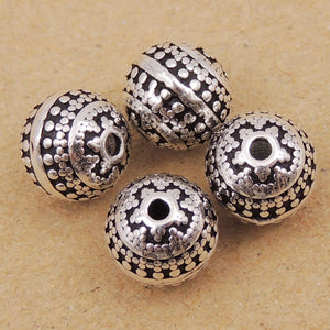 4 PCS Vintage Nepalese Round 7.5mm Beads - S925 Sterling Silver WSP001X4