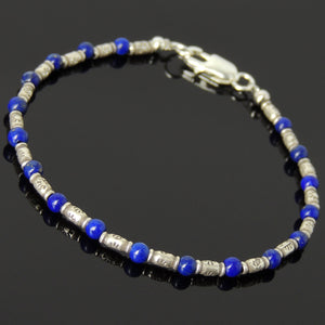 3.5mm Lapis Lazuli Healing Gemstone Bracelet with S925 Sterling Silver Vintage Sun Barrel Beads & Clasp - Handmade by Gem & Silver  BR869