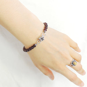 5.5mm Grade AAA Garnet Healing Gemstone Bracelet with S925 Sterling Silver Spacers & Rose Clasp - Handmade by Gem & Silver BR734