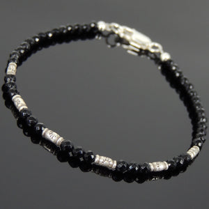 3mm Faceted Bright Black Onyx Healing Gemstone Bracelet with S925 Sterling Silver Vintage Sun Barrel Beads & Clasp - Handmade by Gem & Silver BR872