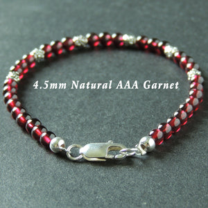 4.5mm Grade AAA Garnet Healing Gemstone Bracelet with S925 Sterling Silver Art Deco Barrel Beads & Clasp - Handmade by Gem & Silver BR884