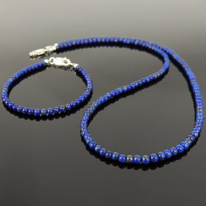 3.5mm Lapis Lazuli Healing Gemstone Bracelet & Necklace Set with S925 Sterling Silver Spacer Beads & Clasp NK138_BR508