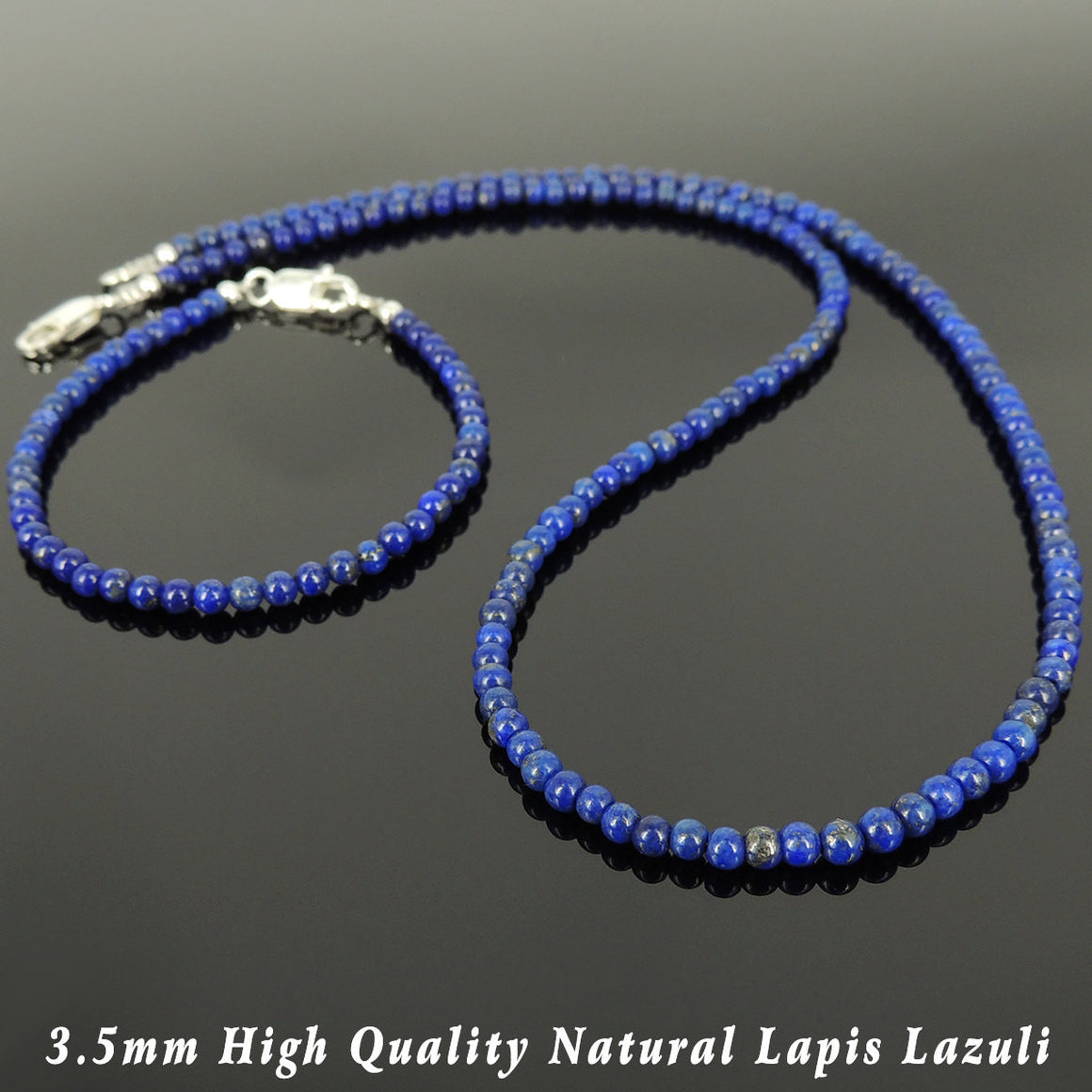 3.5mm Lapis Lazuli Healing Gemstone Bracelet & Necklace Set with S925 Sterling Silver Spacer Beads & Clasp - Handmade by Gem & Silver NK138_BR508