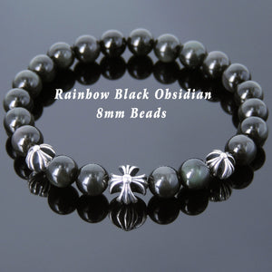 Black Obsidian Healing Gemstone Bracelet with S925 Sterling Silver Cross Beads - Handmade by Gem & Silver BR737