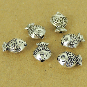 6 PCS Lucky Goldfish Charms - S925 Sterling Silver WSP471X6