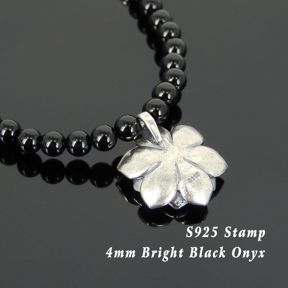 4mm Bright Black Onyx Healing Gemstone Necklace with S925 Sterling Silver 3D Lotus Protection Pendant, Spacers Beads, & S-hook Clasp - Handmade by Gem & Silver NK129