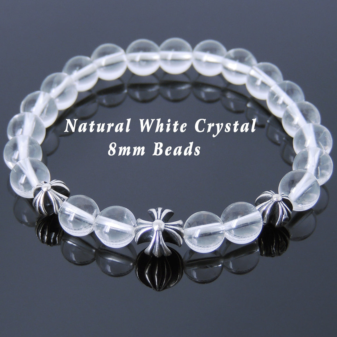 8mm White Crystal Quartz Healing Gemstone Bracelet with S925 Sterling Silver Holy Trinity Cross Beads - Handmade by Gem & Silver BR745