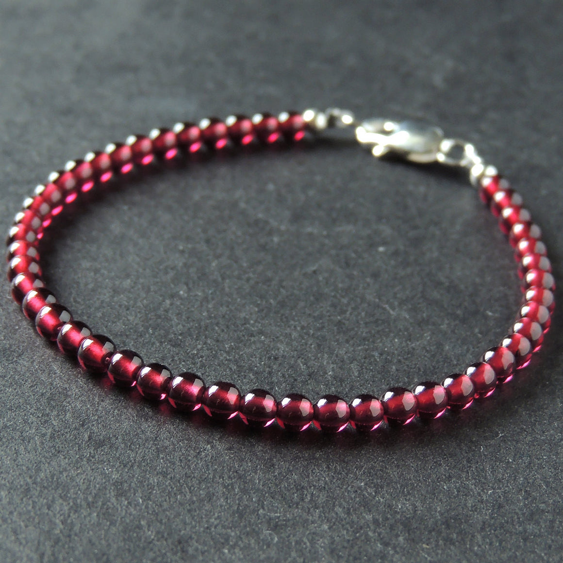 3.5mm Natural AAAA Garnet Healing Gemstone Bracelet with S925 Sterling Silver Beads & Clasp - Handmade by Gem & Silver BR888