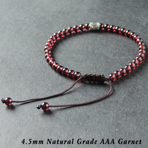 4.5mm Grade AAA Garnet Adjustable Braided Bracelet with S925 Sterling Silver Artisan Barrel Bead - Handmade by Gem & Silver BR889