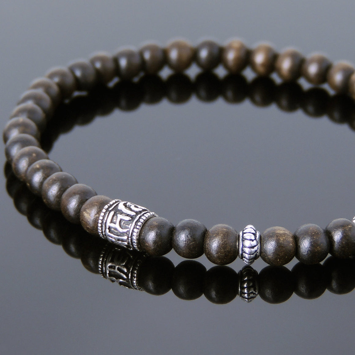 5mm Agarwood Mala Healing Bracelet with S925 Sterling Silver OM Bead & Spacers - Handmade by Gem & Silver BR218