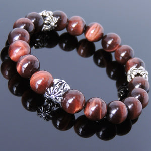10mm Red Tiger Eye Gemstone Bracelet with S925 Sterling Silver Cross Charms - Handmade by Gem & Silver BR076
