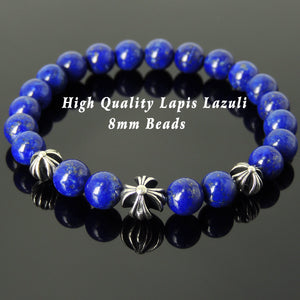 8mm High Grade Lapis Lazuli Healing Gemstone Bracelet with S925 Sterling Silver Holy Trinity Cross Beads - Handmade by Gem & Silver BR750
