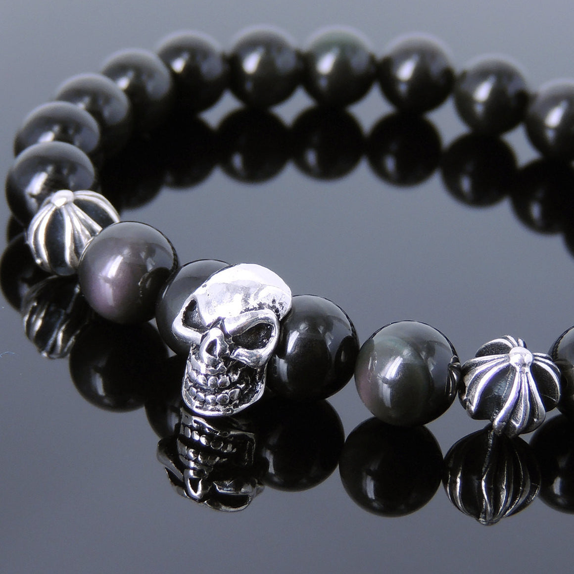 8mm Rainbow Black Obsidian Healing Gemstone Bracelet with S925 Sterling Silver Protective Skull & Cross Beads- Handmade by Gem & Silver BR751