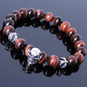 8mm Red Tiger Eye Healing Gemstone Bracelet with S925 Sterling Silver Protective Skull & Cross Beads- Handmade by Gem & Silver BR753