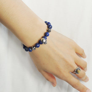 8mm Normal Grade Lapis Lazuli Healing Gemstone Bracelet with S925 Sterling Silver Protective Skull & Cross Beads- Handmade by Gem & Silver BR756