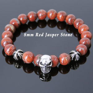 8mm Red Jasper Healing Stone Bracelet with S925 Sterling Silver Protective Skull & Cross Beads- Handmade by Gem & Silver BR757