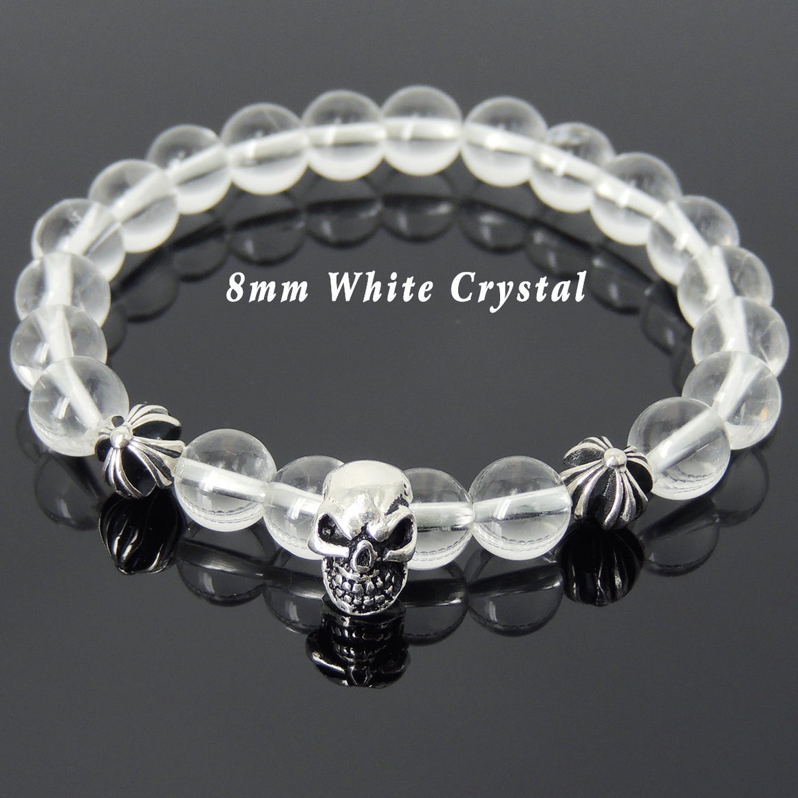 8mm White Crystal Quartz Healing Gemstone Bracelet with S925 Sterling Silver Protective Skull & Cross Beads- Handmade by Gem & Silver BR759