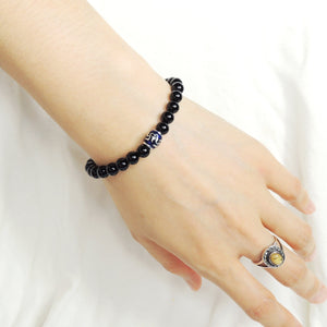 6mm Bright Black Onyx Adjustable Braided Bracelet with S925 Sterling Silver Hand-painted Buddhism Barrel Beads - Handmade by Gem & Silver BR730