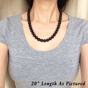 Matte Black Onyx Healing Gemstone Necklace with S925 Sterling Silver Spacers & S-Hook Clasp - Handmade by Gem & Silver NK147
