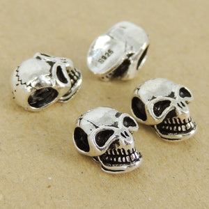 4 PCS Smiling Skull Beads - S925 Sterling Silver - Wholesale by Gem & Silver WSP431X4