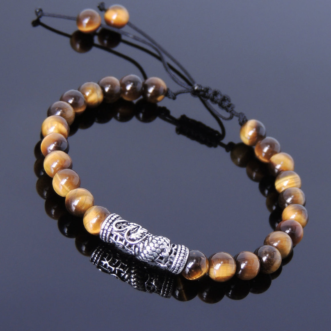 6mm Brown Tiger Eye Adjustable Braided Gemstone Bracelet with S925 Sterling Silver Dragon Charm - Handmade by Gem & Silver BR783