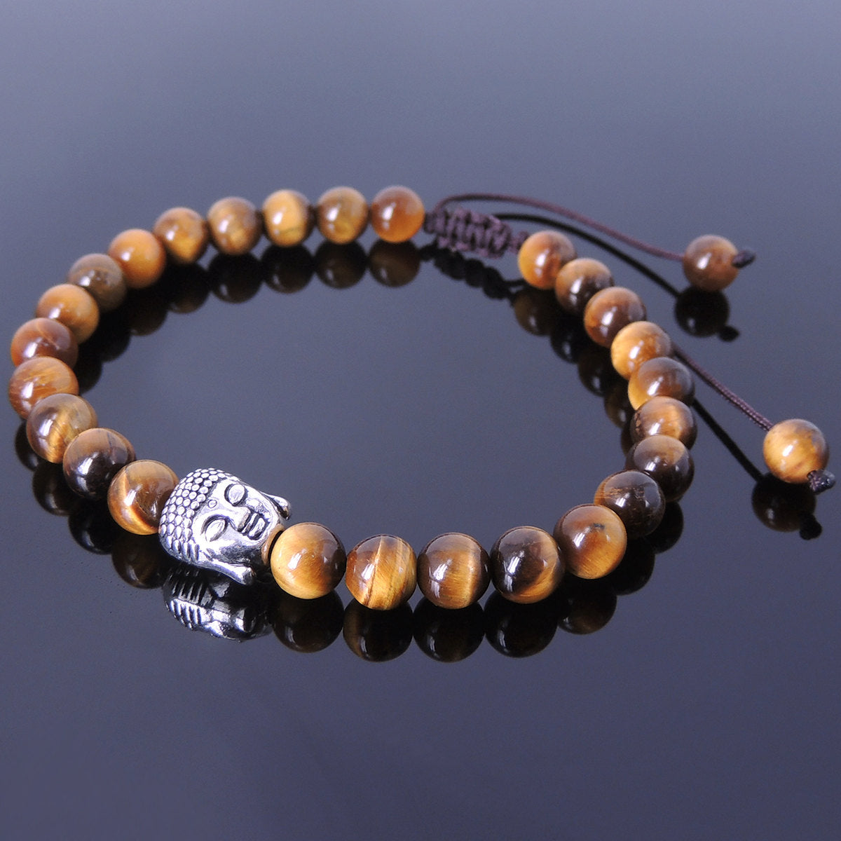 6mm Brown Tiger Eye Adjustable Braided Stone Bracelet with Tibetan Silver Sakyamuni Buddha Bead - Handmade by Gem & Silver TSB111