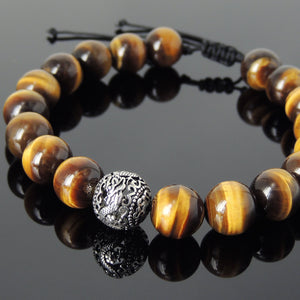 Natural High Quality Brown Tiger Eye Semiprecious Gemstones, Elegantly Carved Dragon Bead, Handmade adjustable bracelet, Symbol of protection, courage, tranquility, strength, love, spirituality, Gemstone jewelry for All Genders, Prayer, Healing, Yoga, Use with Chakra Meditation to increase your energy flow – durable black cords, adjustable braided drawstring, sterling silver S925, includes FREE Jewelry Bag, Sterling Silver Jewelry Cleaning Cloth