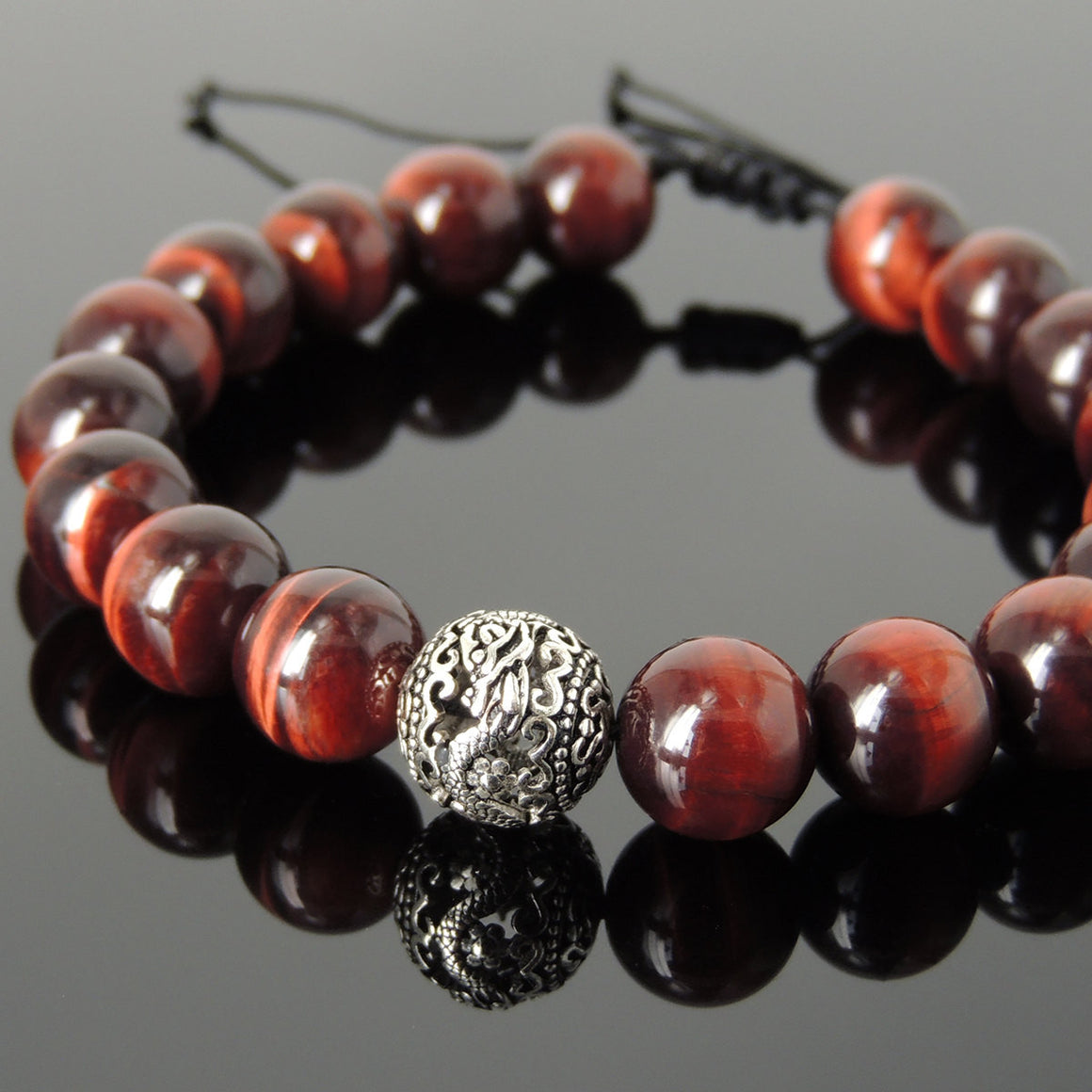 Red Tiger Eye Adjustable Braided Gemstone Bracelet with S925 Sterling Silver Dragon Bead - Handmade by Gem & Silver BR916