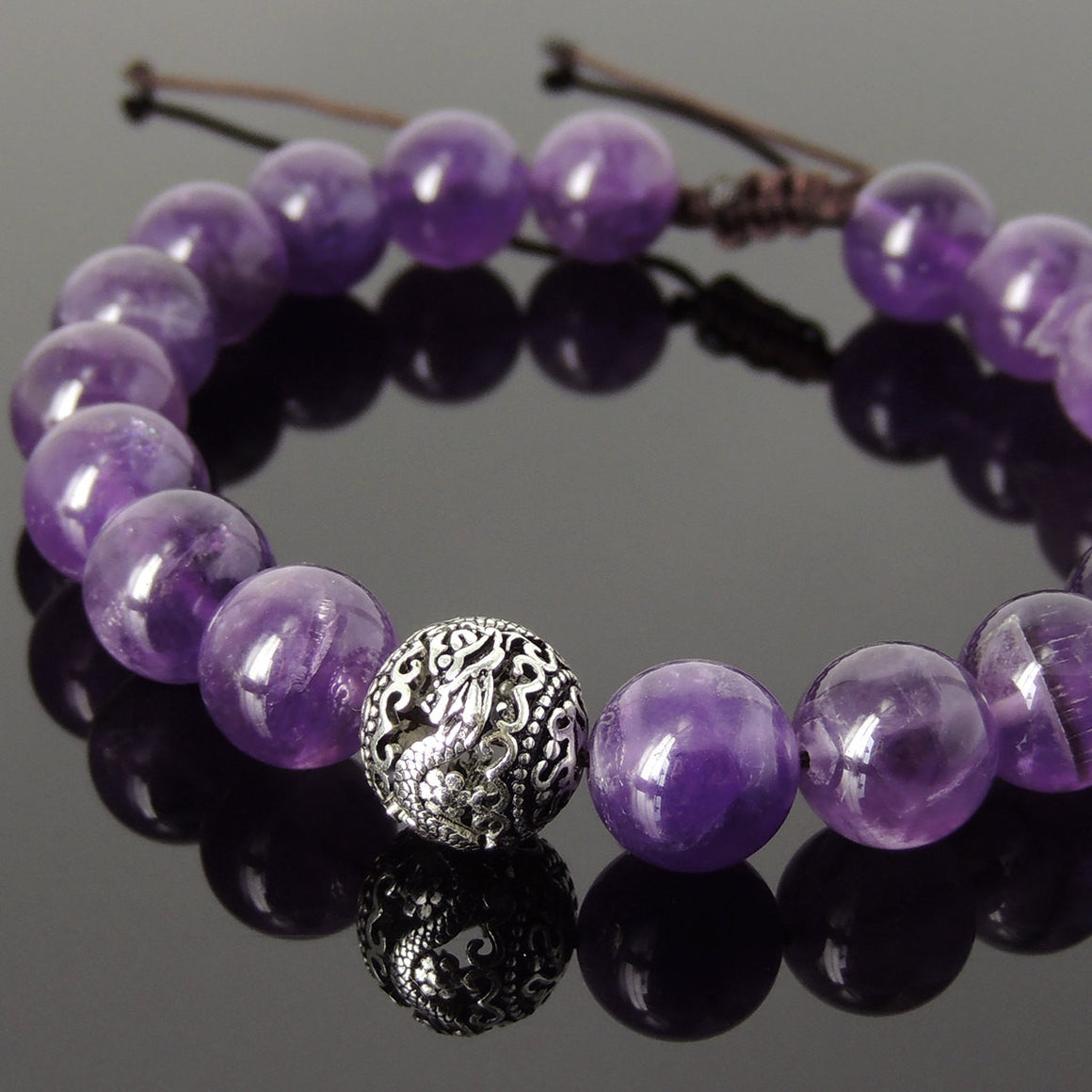 Amethyst Adjustable Braided Healing Gemstone Bracelet with S925 Sterling Silver Dragon Bead - Handmade by Gem & Silver BR921