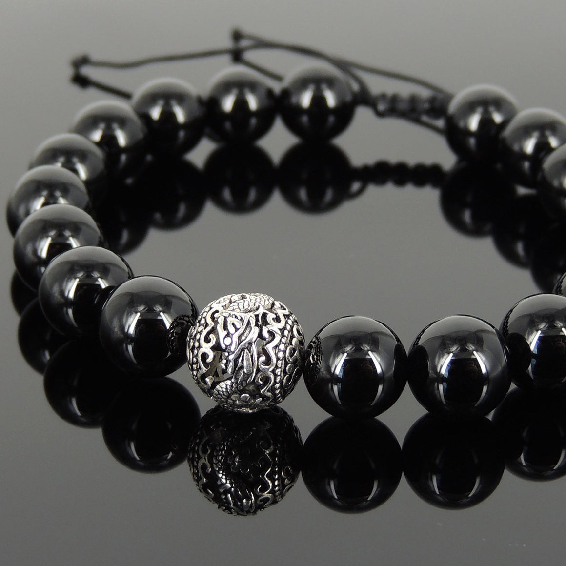Bright Black Onyx Adjustable Braided Healing Gemstone Bracelet with S925 Sterling Silver Dragon Bead - Handmade by Gem & Silver BR922