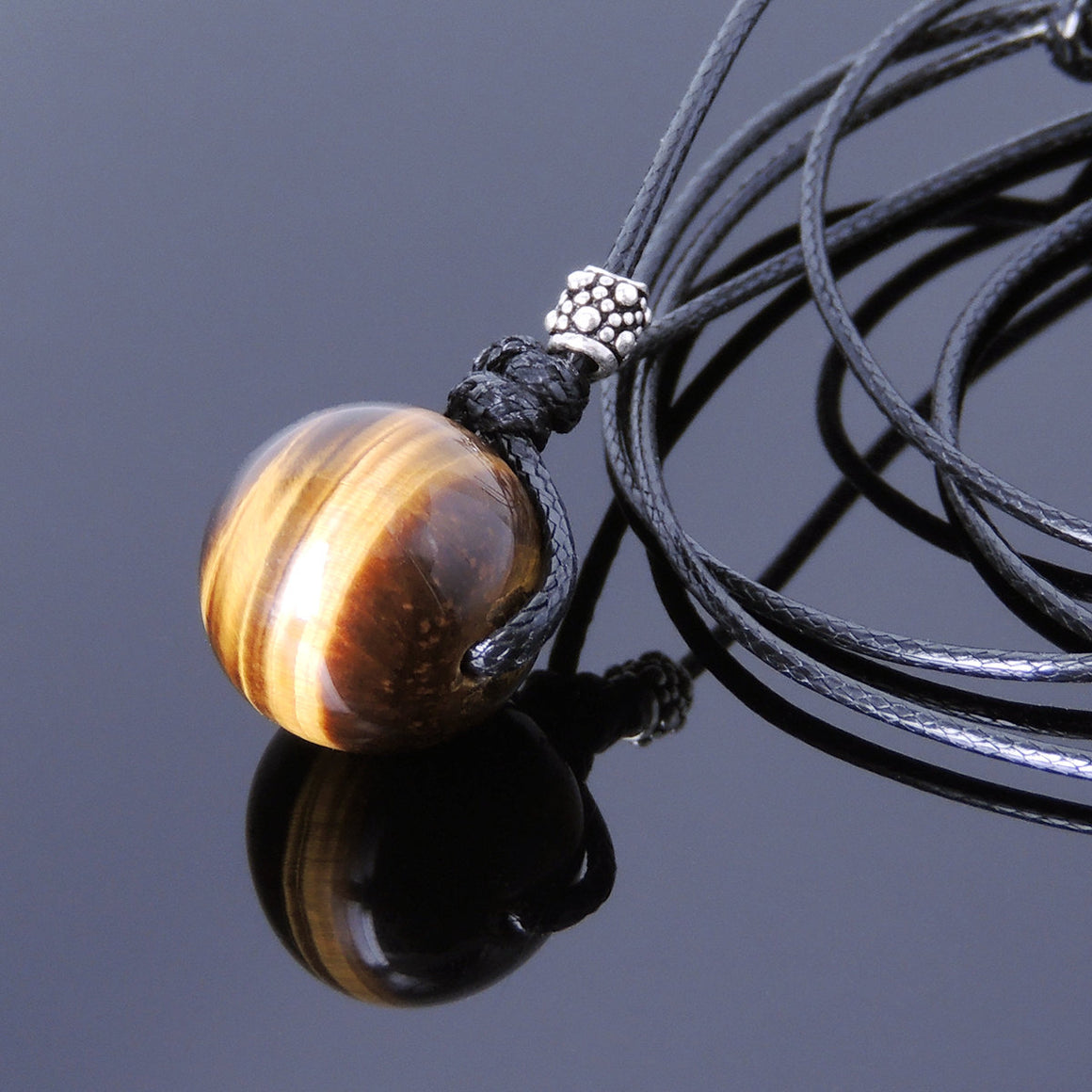 14mm Brown Tiger Eye Adjustable Wax Rope Necklace with S925 Sterling Silver Barrel Bead - Handmade by Gem & Silver NK052